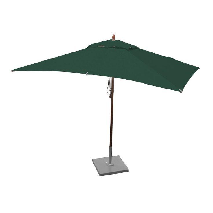 Greencorner 10 x 6.5 ft. African Mahogany Rectangular Patio Umbrella Forest Green - RC1065QS2245