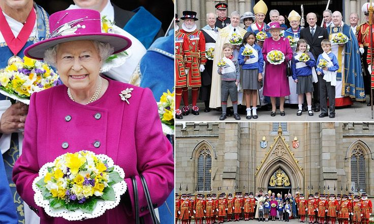 The Queen is jaunty in cerise at the Maundy Thursday service