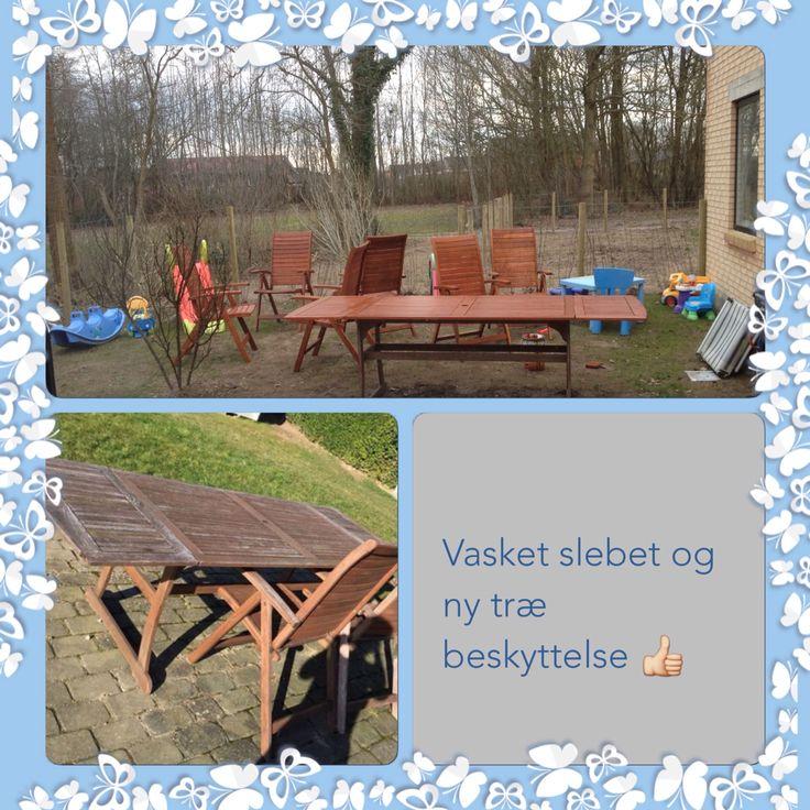 Renovering af gamle udslidte havemøbler Bord + 6 stole slidt og grimt 500kr Sandpapir 30kr Træbeskyttelse 150kr 2 dages arbejde Nye havemøbler for 680kr