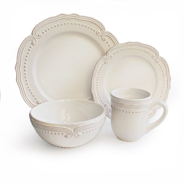 American Atelier Victoria White Dotted 16-piece Stoneware Dinnerware Set  sc 1 st  Pinterest : french country tableware - pezcame.com