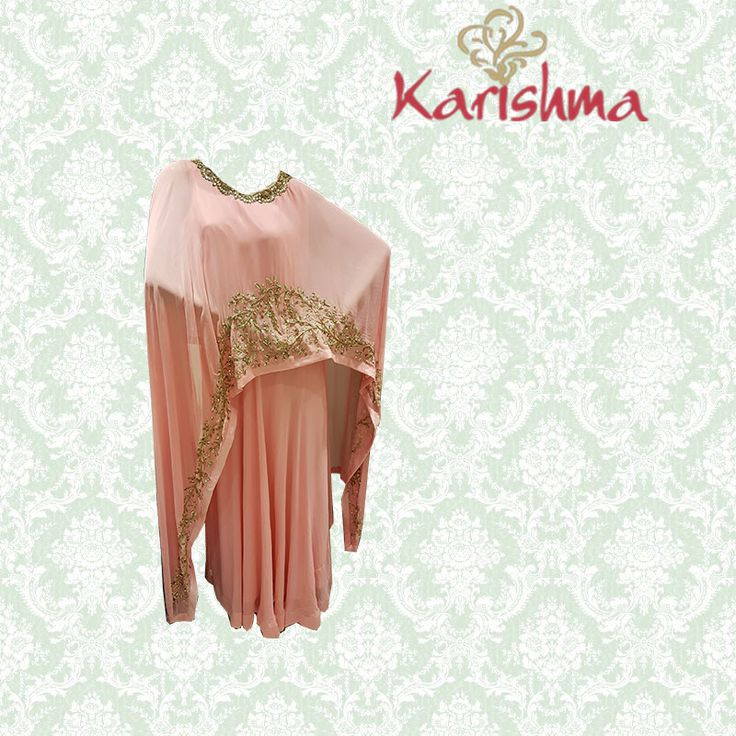 Embellished pink cape dress