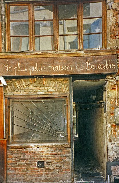 P comment: Window leadinfg design Portal Brussels Old Store  Abandoned storefront in Brussels, Belgium.