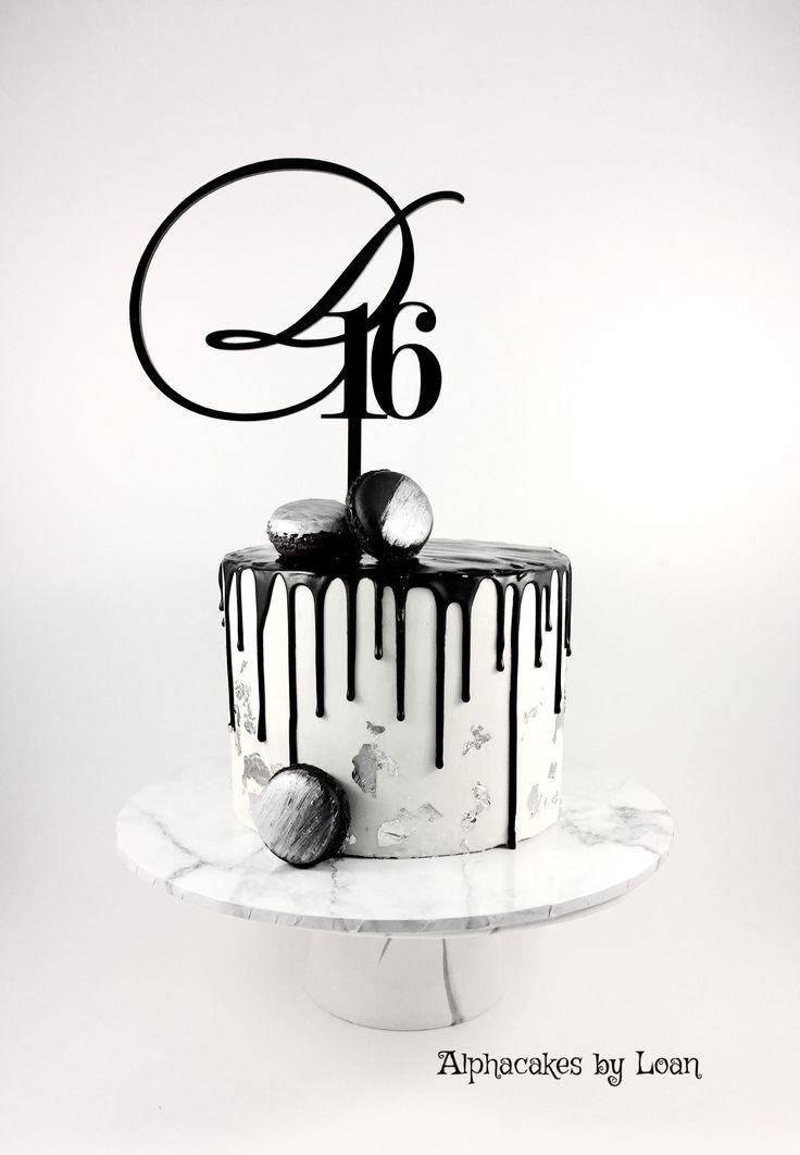 White and black drip cake.