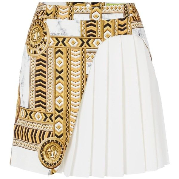 Versace Jeans Printed layer short skirt found on Polyvore featuring skirts, mini skirts, white, women, white mini skirt, layered mini skirt, versace, print mini skirt and print skirt
