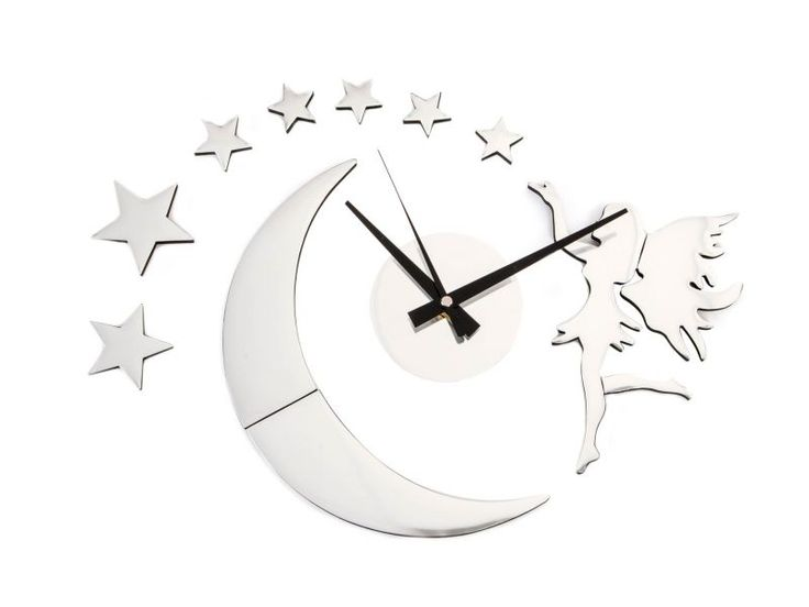 #RELOJ DE PARED DE #estrella #luna con medida adaptable de pegar, se queda muy bonito en pared de salon o techo, https://www.catayhome.es/categoria/relojes/