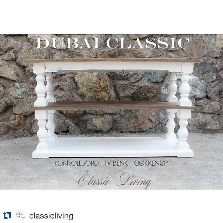 """DUBAI CLASSIC"""" er enda et flott møbel i vår DUBAI Serie.  Dette nydelige konsollbordet fungerer også som en kjøkkenøy eller en lekker TV -benk.  Finnes også med sort understell samt i helsort.  Str: 145cm B:55cm H:85cm"""