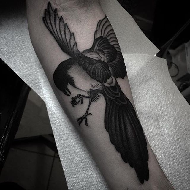 Traditional magpie tattoo - photo#33