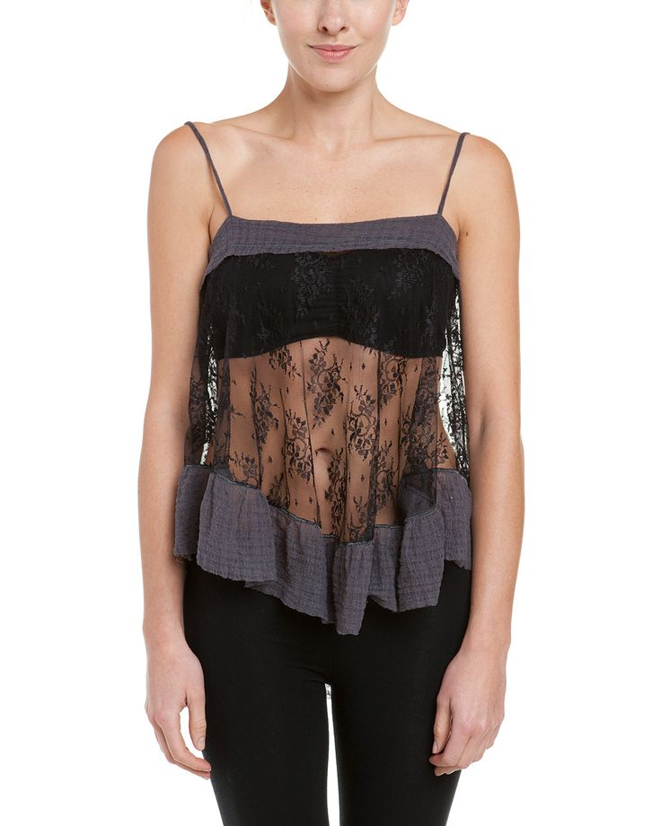 Spotted this Free People Black Sheer Lace Trapeze Ruffle Camisole on Rue La La. Shop (quickly!).