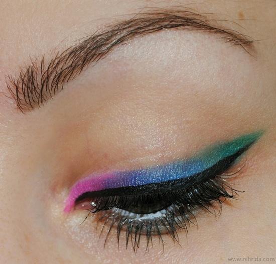 pink blue and teal eyeliner