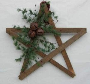 Rustic Christmas. Going to try and make one of these with five gallon stir sticks from Home Depot, some tree trimmings, floral wire and jingle bells.