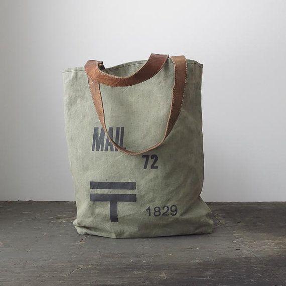 vintage tote bag / post bag with ticking lining | via ohalbatross on Etsy