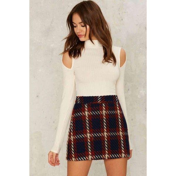 Ronan Mini Skirt (37.125 CRC) ❤ liked on Polyvore featuring skirts, mini skirts, high waisted plaid skirt, a line skirt, short mini skirts, high-waist skirt and tartan miniskirts