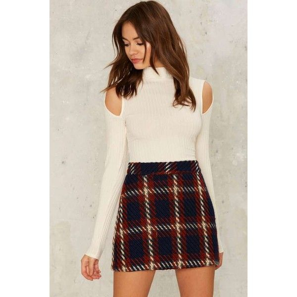 Ronan Mini Skirt (£52) ❤ liked on Polyvore featuring skirts, mini skirts, plaid skirt, high waisted short skirts, plaid mini skirt, high waisted skirts and tartan miniskirts