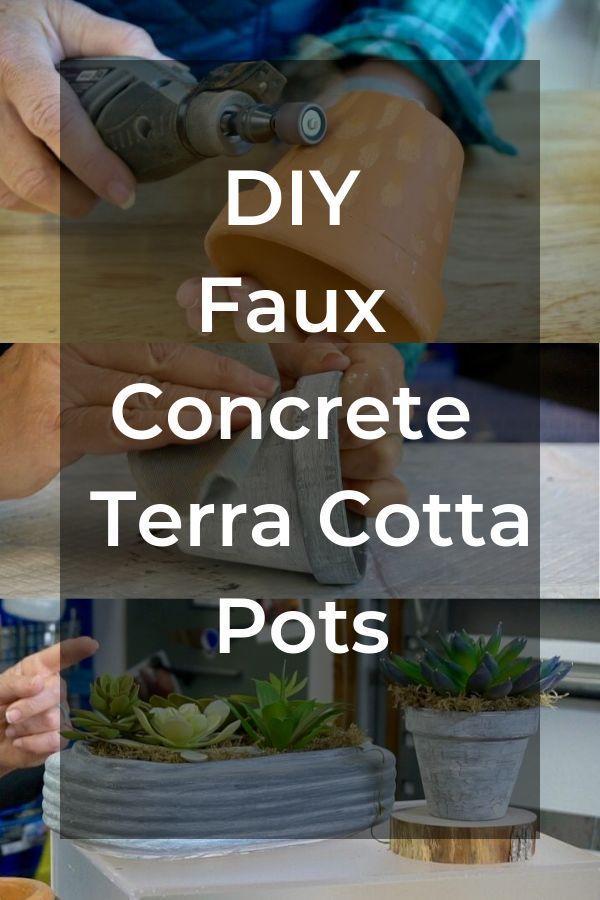 How To Diy Faux Concrete Finish On Terra Cotta Pots Terracotta Pots Diy Plant Stand Terracotta Flower Pots