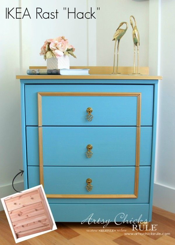 IKEA RAST HACK- Fancy Blue and Gold Chest   with Hickory Hardware with Queen Anne pendant pulls (P8005-LP) via @artsychicksrule. #ikeahack #hickoryhardware