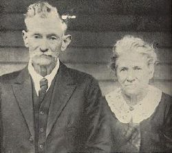 Lark McCoy and his wife Mary Elizabeth posed for this photograph in 1904. Lark's father, Harmon McCoy, was killed in the Civil War by Captain Hatfield, while fighting on opposite sides. Lark killed plenty of Hatfields, but died naturally in 1937.