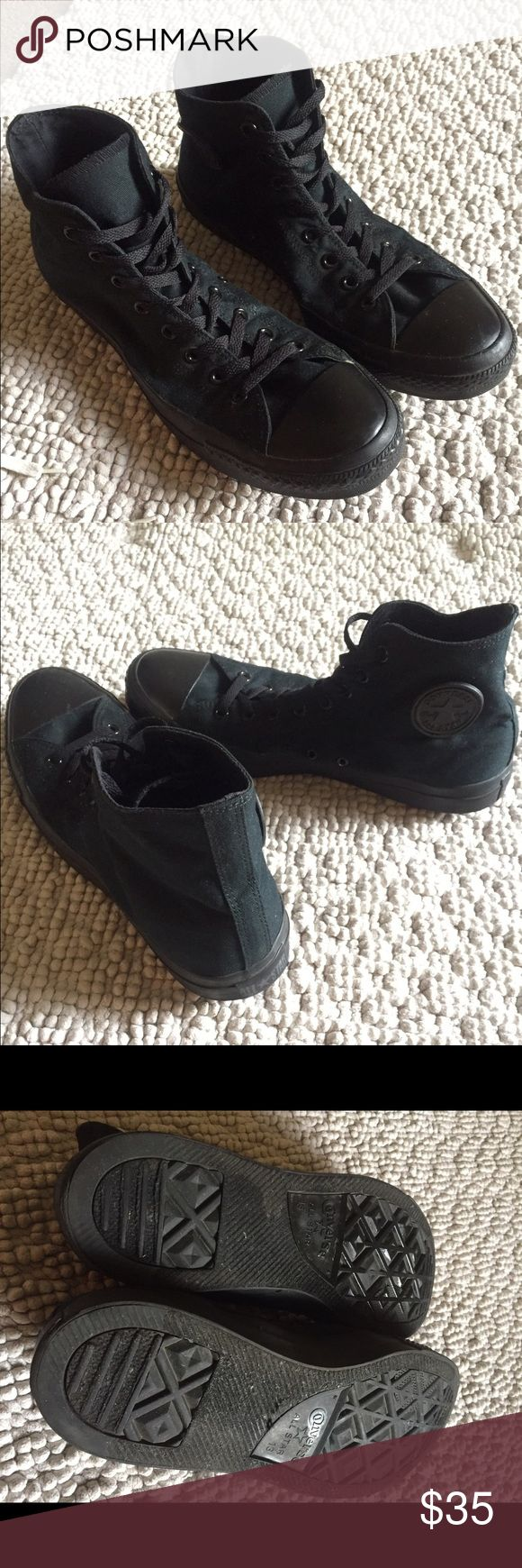 Men's All Black High-Top Chuck Taylors Size 13 Men Men's All Black High-Top Chuck Taylors Size 13 Men Converse Shoes