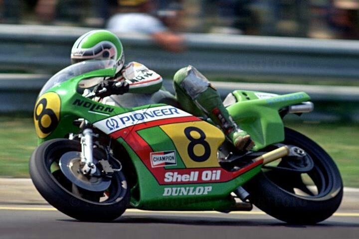 Kork Barrington rides the Kawasaki KR500 (moto)GP bike