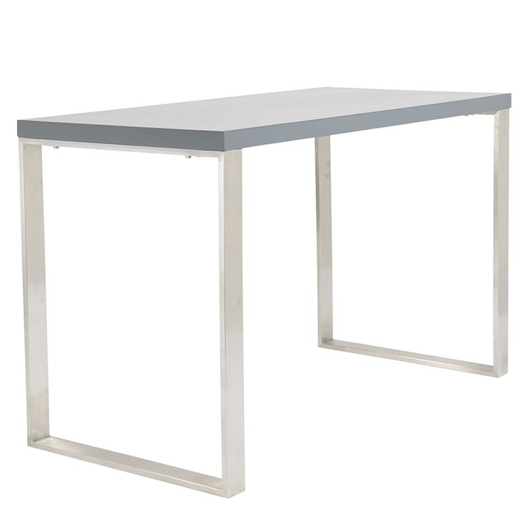 The Dillon Desk in Gray features a special contemporary, minimalist design that looks sleek. This shiny office desk can fit into any modern office space, and features a high-gloss, matte lacquer table surface! Plus, the polished stainless steel legs...