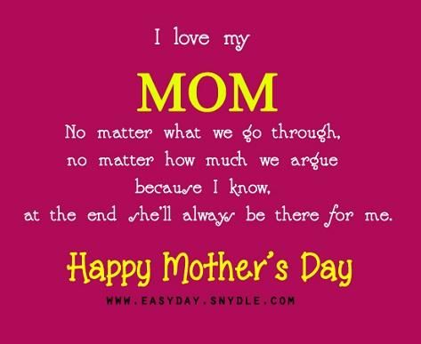 I just want to tell you how much you mean to me. I may not get to say it every day But I will try my very best to show my love and care for you Just like the way you do it towards me. I love you Mama :)