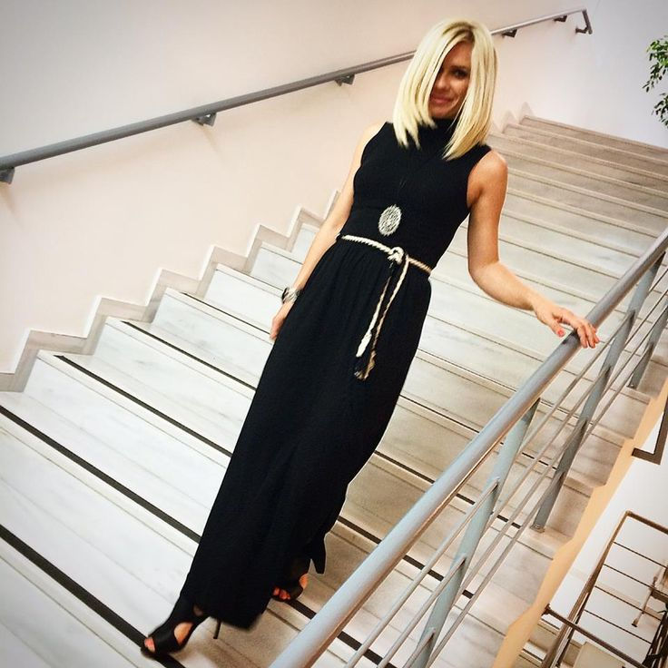 Katerina Karavatou in black maxi dress  by Eclectic Soiree @ Panos Kallitsis Salon