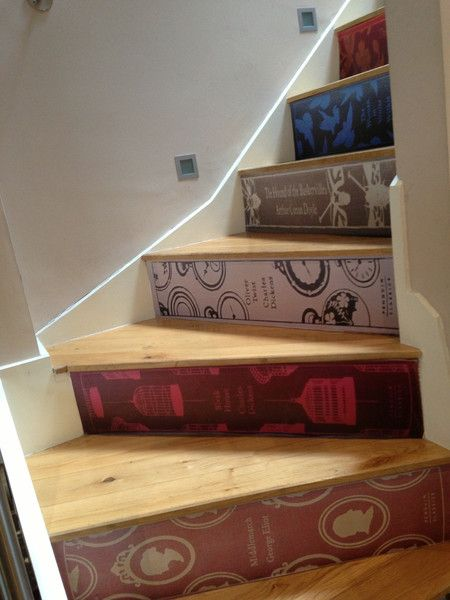 stair-riser decals  turn staircase into the spines of a giant's eccentric library.    Classic Book Stair Decals (bia boingboing via Tor) THIS IS AMAZING