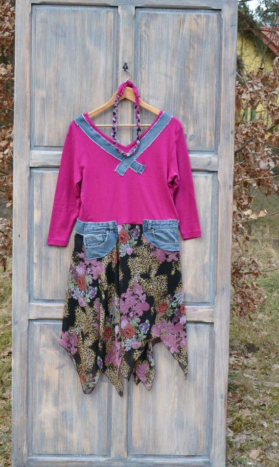 Romantic upcycled dress gypsy clothing dress by MyEspresso #denim #recycled #clouting #Fashion #upcycled #Boho #Gypsy