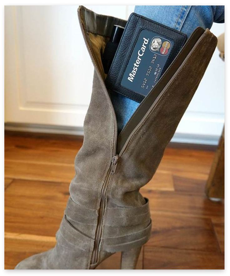The Boot Wallet™ hands-free wallet and garter for secure, convenient storage. Great for college campuses, bar hopping, tailgating, concerts, hiking, and other outdoor activities.