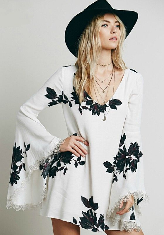 White Flowers Print Hollow-out Lace V-neck Bell Sleeve Chiffon Dress - Mini Dresses - Dresses