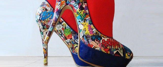 Geeky DIY Women Shoes: Comic Books Shoes, Fashion, Books Heels, Diy Comic, Diy'S, Comicbook, High Heels, Comics, Comic Strips