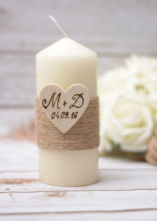 Bougie de mariage personnalisée rustique unité par HappyWeddingArt