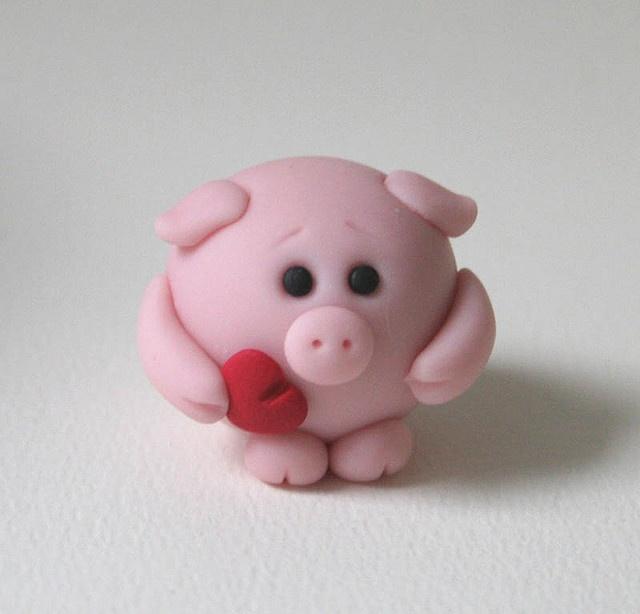 cerdito san valentin porcelana fria fimo