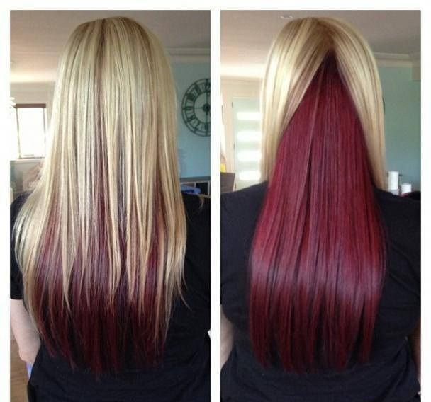 blonde on top red underneath | Awesome long straight hair with blonde on top and red underneath, when ...