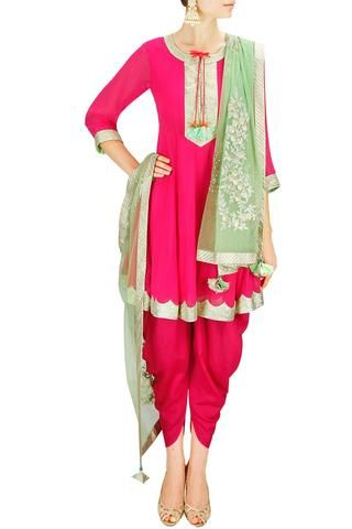 'Elegance never goes out of style' is just what this graceful dress portrays! Featuring a pink viscose georgette short anarkali with gota border lacing, paired with a pink dhoti salwar and contrasted mint green embroidered dupatta.