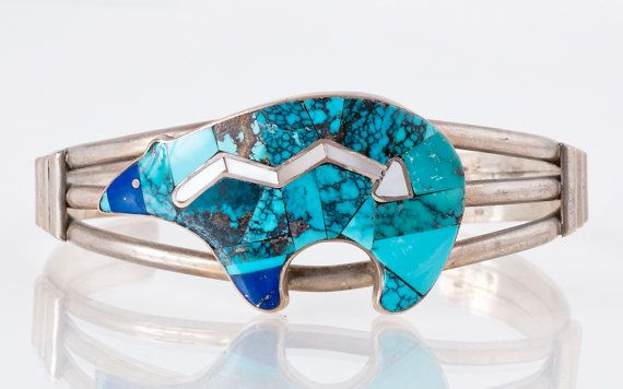 Turquoise Cuff - Vintage Sterling Silver Inlaid Turquoise, Mother of Pearl & Lapis Bear Cuff Bracelet