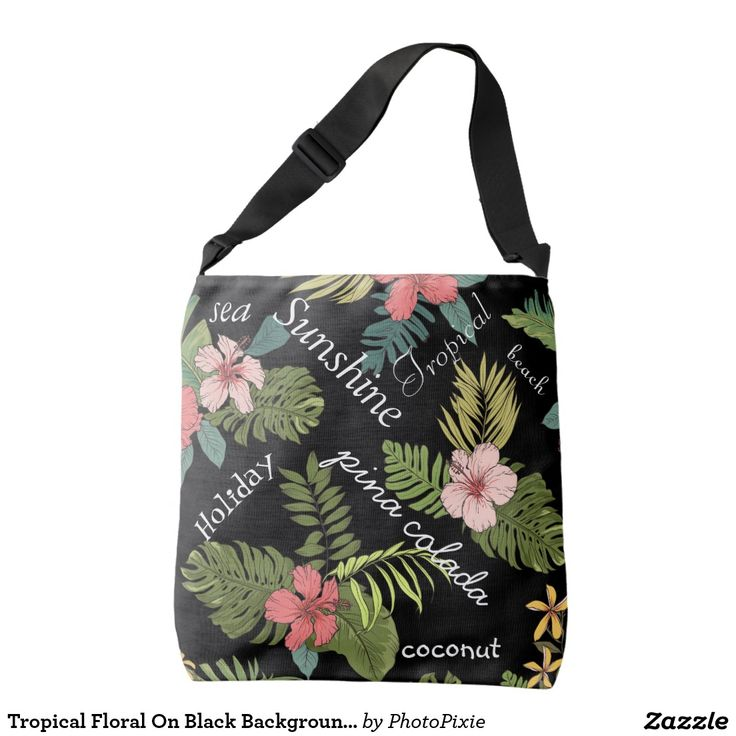 Tropical Floral On Black Background Typography Over Shoulder Tote Bag