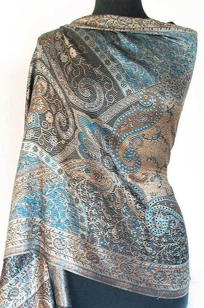 Iridescent Silk. Jamawar, India, Paisley Shawl. Black & Turquoise Jamavar Wrap #Pashmina