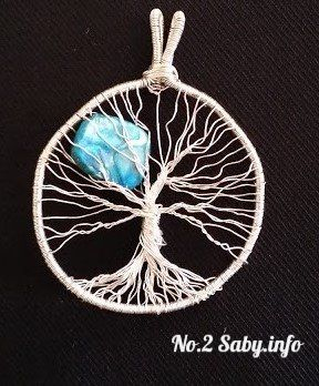 Wire Tree Pandant No.2 Silver wire with blue stone (4 cm). Hand made by Sabine Stroo - van de Flier Sold.