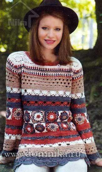 Multicoloured crochet tunic