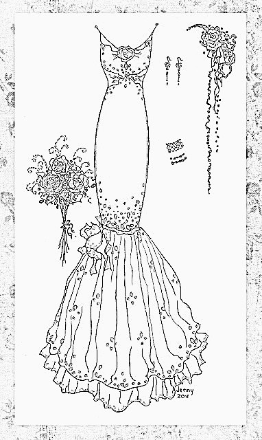 would be fun to embroider for a bride--or get a silhouette of the actual dress and embroider that.