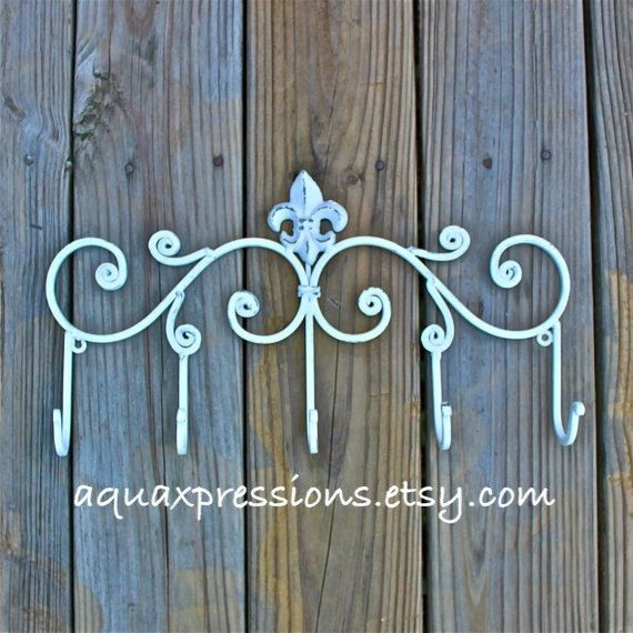 Iron Wall Hook White Hanger Five Hook Fleur De Lis