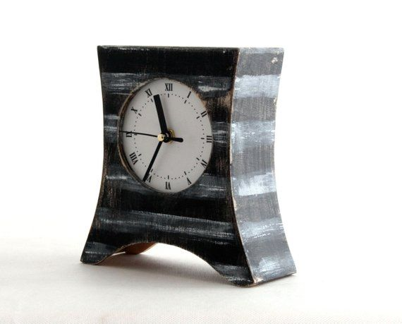 Black White Stripes Mantel Clock Desk Wood Clock Table Clock Black Clock Black White Mantle Clock Rustic Mantle Decor Office Decor Zegar Etsy Vintage