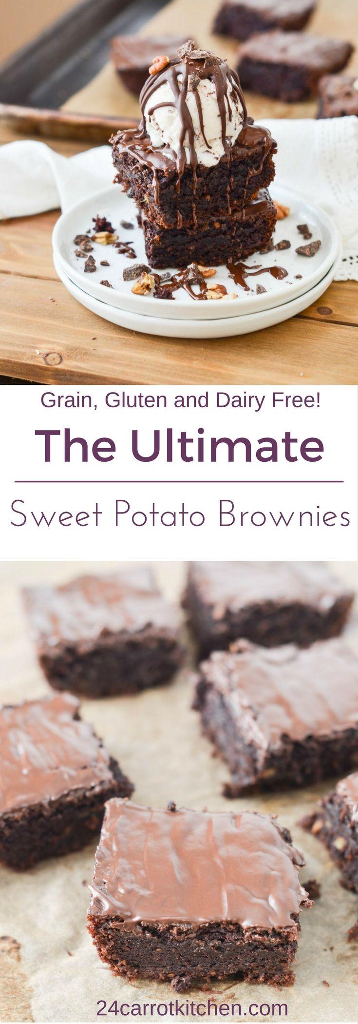 Sweet Potato Brownies - #Paleo #grainfree #glutenfree #dairyfree #vegan