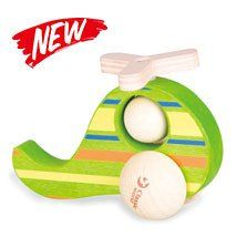 A colourful helicopter with rotating wooden blades and ball which is the perfect size for little hands.