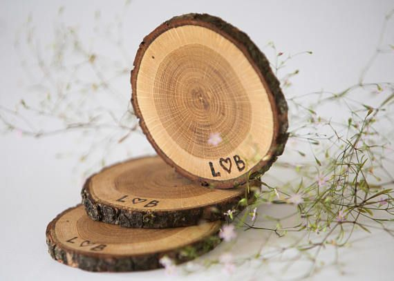 "10 Oak Wood Coasters 3""- 4"" , Tree Slices For Wedding"