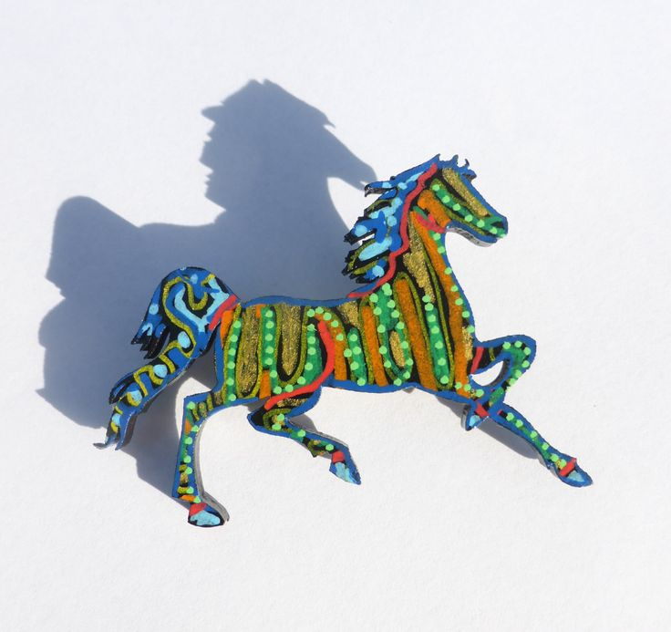 Horse Jewelry, Horse Painting, Hand Painted Horse Brooch, Original Art, Abstract…
