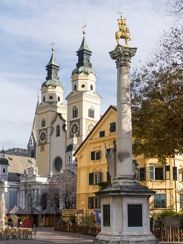 Column and Cathedral of Brixen, Brixen, South Tyrol, Italy
