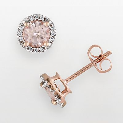 10k Rose Gold Morganite and Diamond Accent Stud Earrings