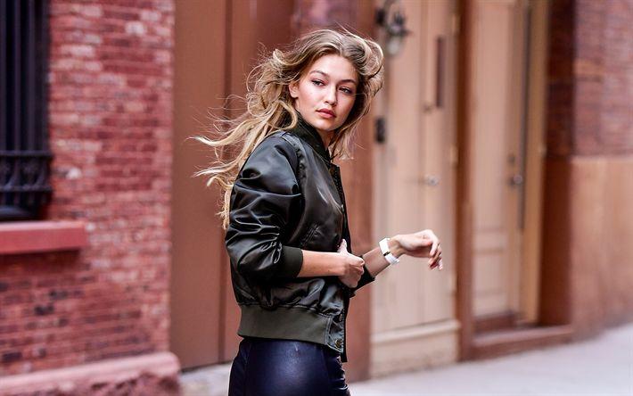 Download wallpapers Gigi Hadid, 2017, beauty, top-models, blonde, street