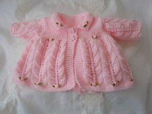 Pembe Kız Bebek Önden düğmeli Hırka Modeli